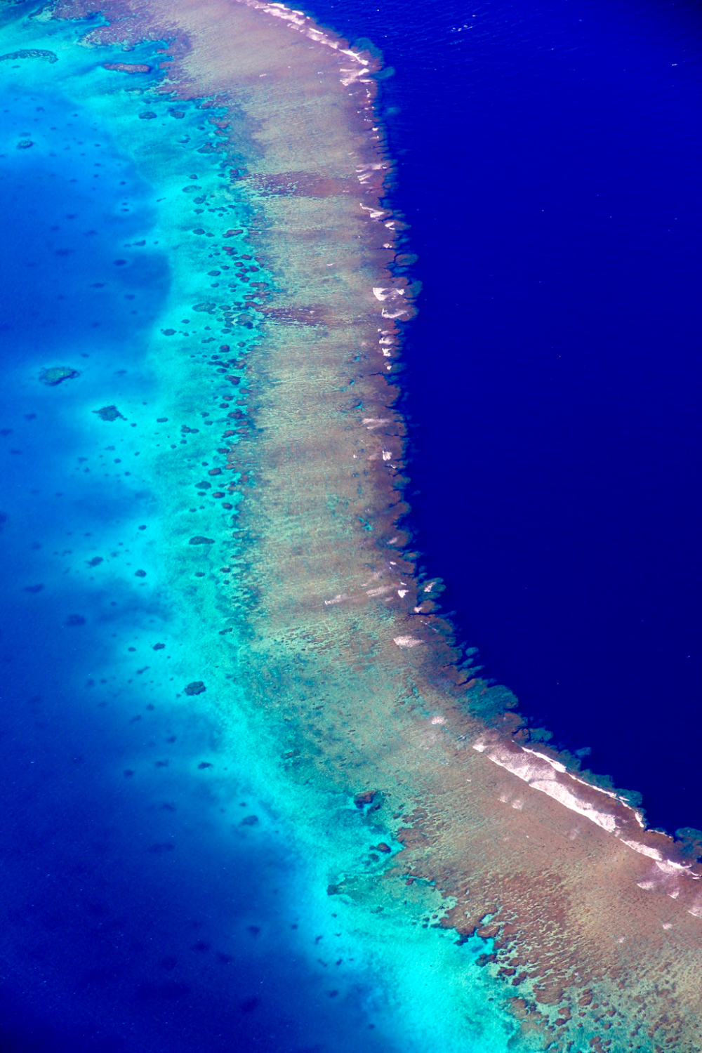 Coral reefs around Fiji Islands from a plane