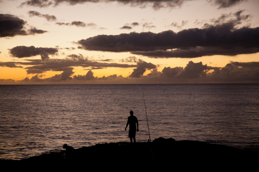Man at sunset fishing
