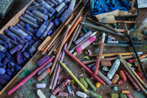 Actual pastels used by local artist, Maine