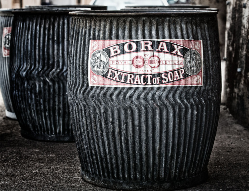 Old Borax containers used for trash cans