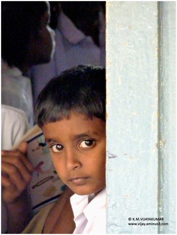 School boy in the Indian village school