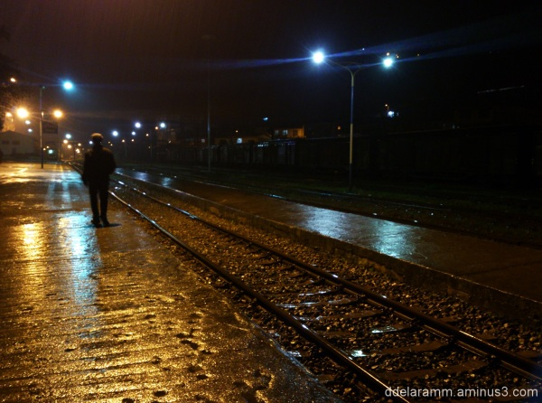 lonely,train station,Railways,north,night,Rain