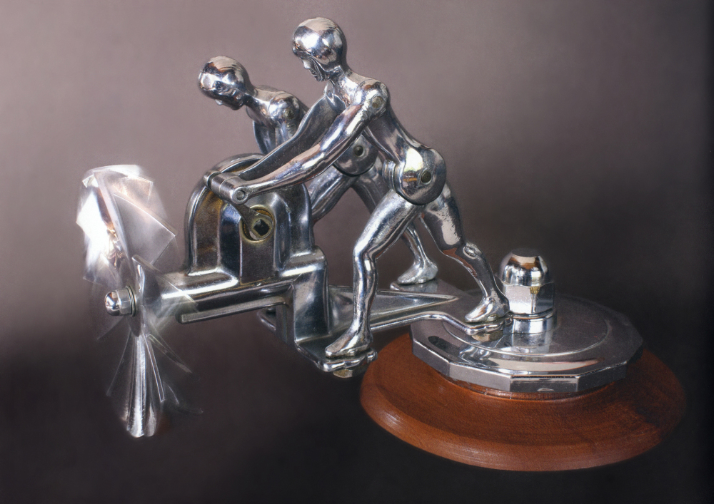 Liberty Twins or Action Twins Hood Ornament, 1931