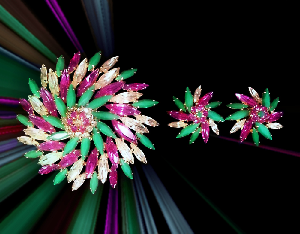Sherman Multicolor Pinwheel Brooch Circa 1950's