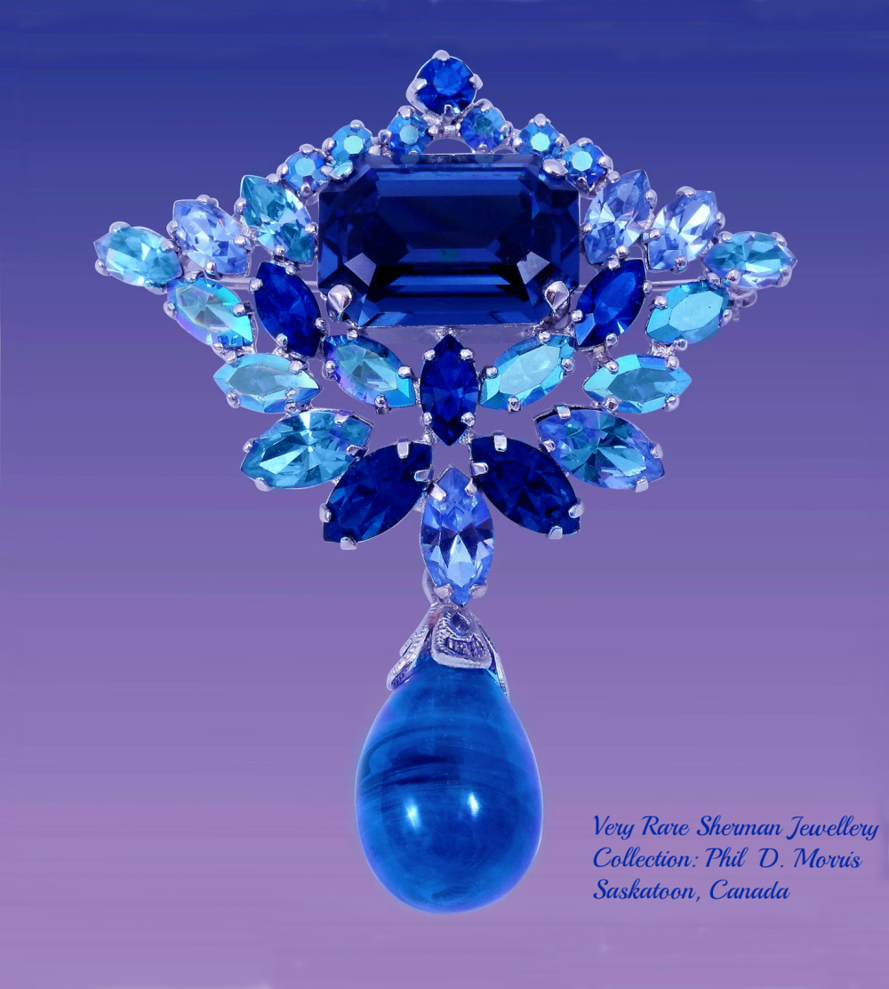 Very Rare Blue Pendant Brooch by Gustave Sherman