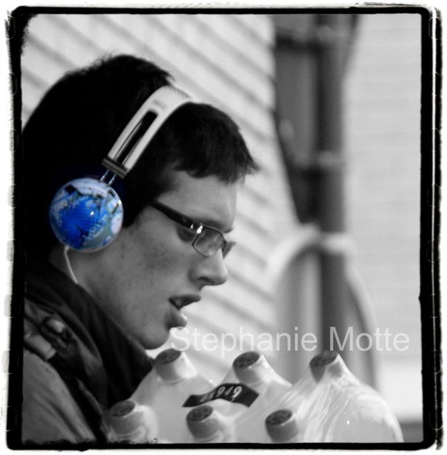 guy wearing blue headphones