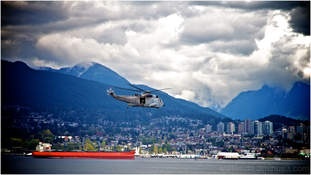 CH-124A Sea King flying over Vancouver Harbour
