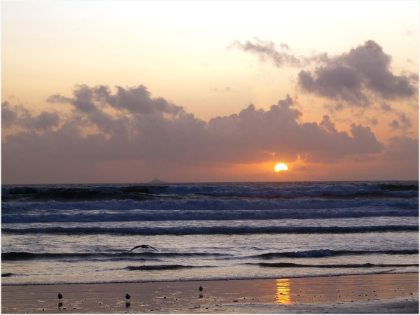 Bretagne, couché de soleil, baie des trépassés