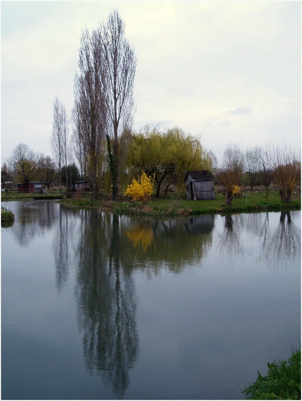 Paysage automnal du canal du Berry à Bourges