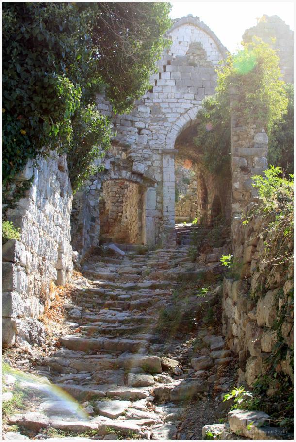 Ruines, pierres, village, escalier, lumière