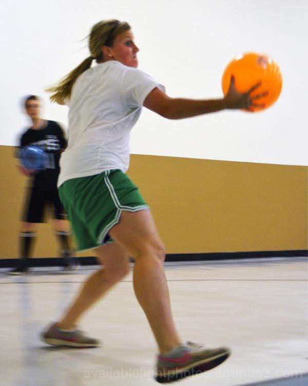 girl playing dodgeball