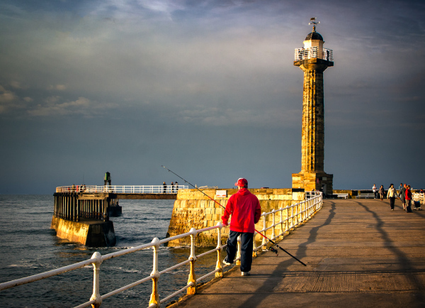 Fishing from Whitby Pier