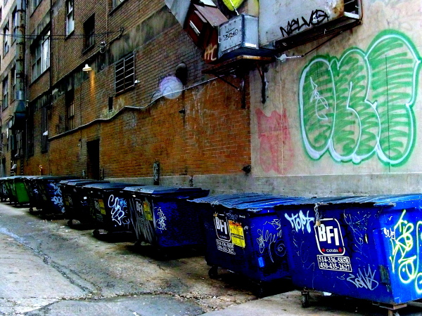 montreal dumpsters alley tags