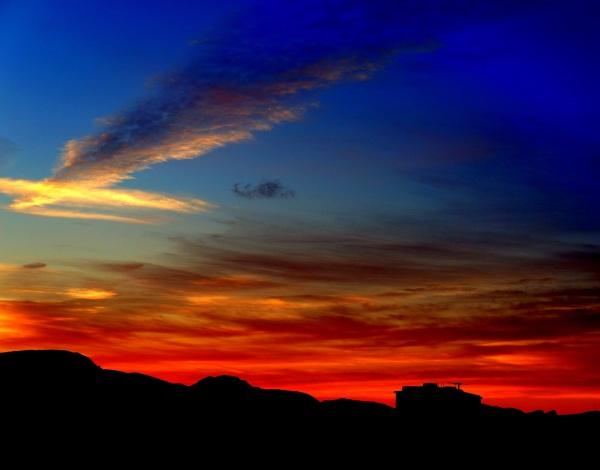 coucher de soleil dans le désert d'Arizona