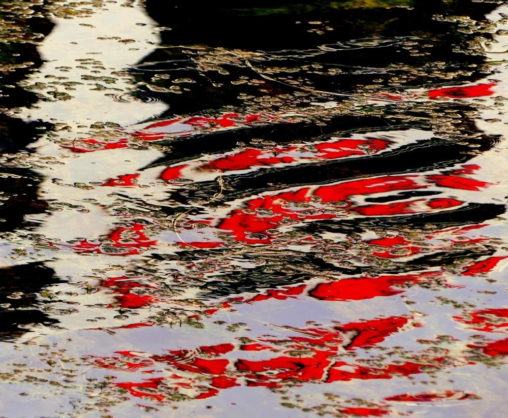 reflets d'eau rouge