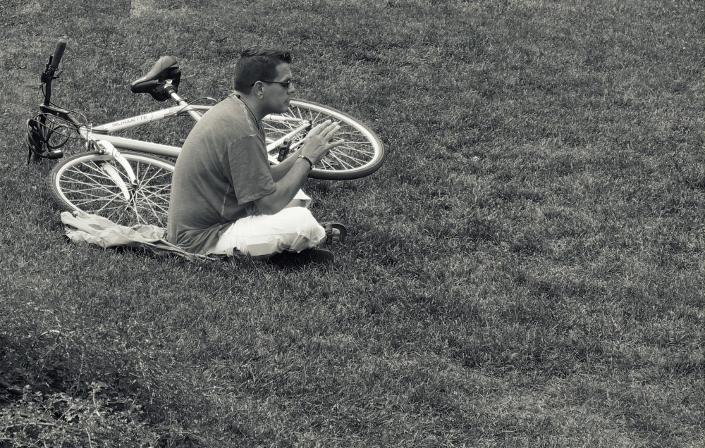 the bike, the guy and the phone
