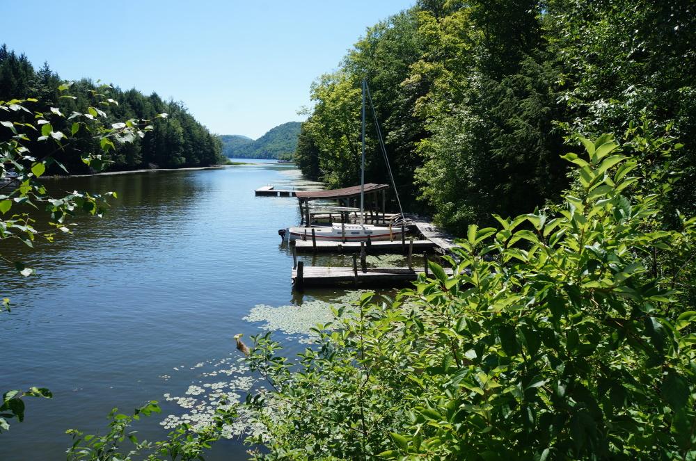 le lac sous le pont suspendu