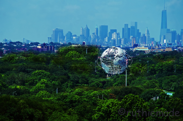 Queens Sphere and NY SKyline