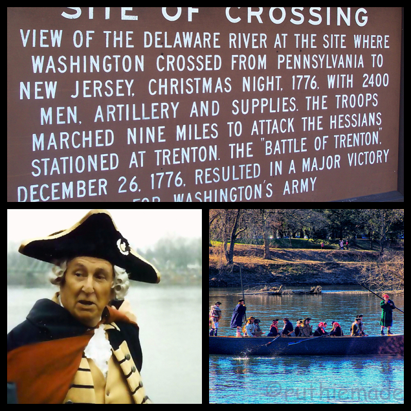 """What defines the place I live is the Delaware River.  I live at the very spot where George Washington crossed this river, Christmas night, 1776 and turned the """"tide"""" of the Revolutionary War.  These images capture the marker in the park, and the re-enactment which takes place every Christmas Day.  Where I live captures the spirit of the American people, where today our community still embraces our history and celebrates our heritage."""