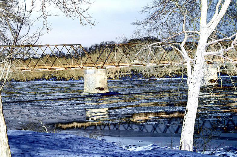 Solarized WInter River Bridge
