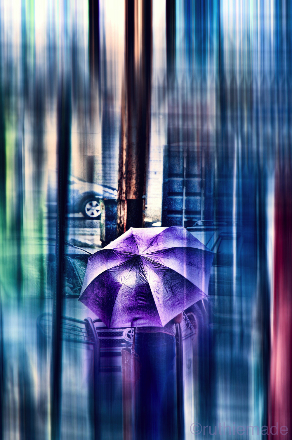 Umbrella in rainy NYC