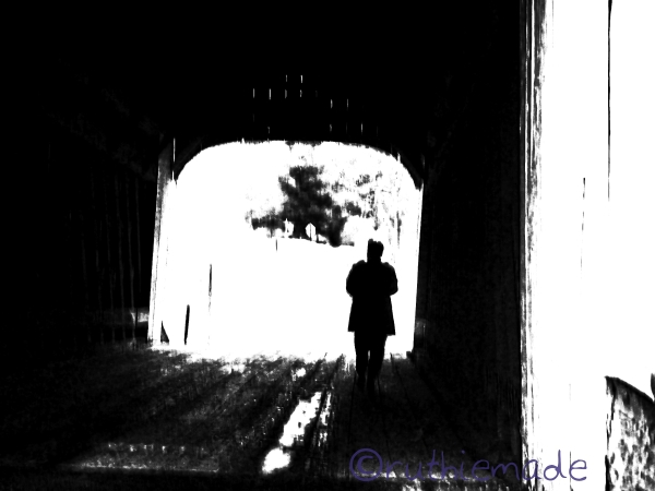 B&W Sleepwalk through Covered Bridge