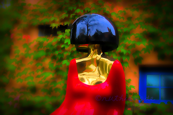 Lady in Red at grounds for Sculpture