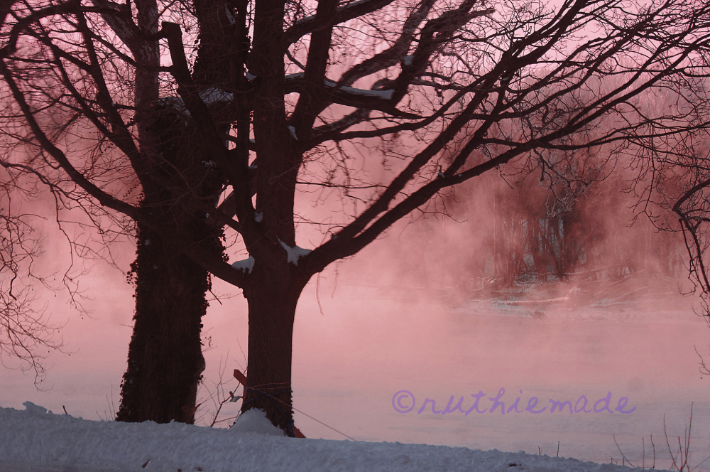 Winter Fog on River