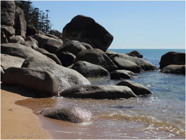 rocks, beach, sea, nautical, contrast