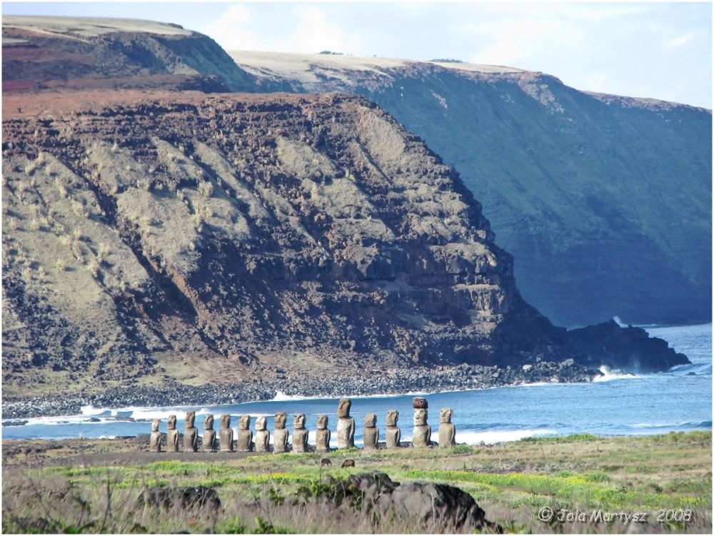 Easter Island, landscape, seascape, rocks, sculptu