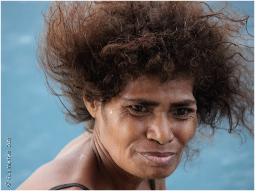 Monica lives on one of the remote islands in Papua