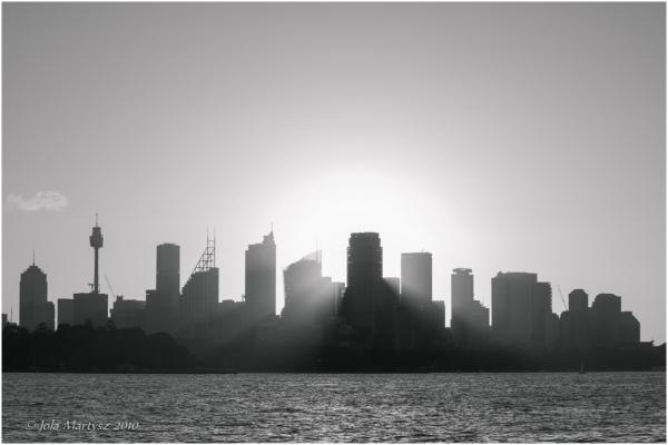 sunset, sydney, city, light, water, cityscape, aus