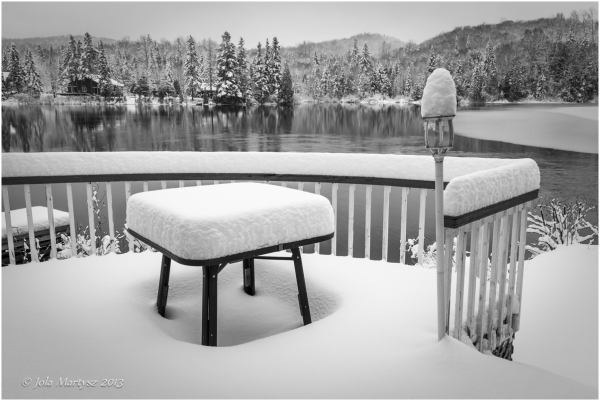 snow, lake, winter, black and white, black, white,