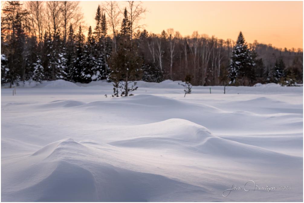Winter sunset in Quebec, Canada.