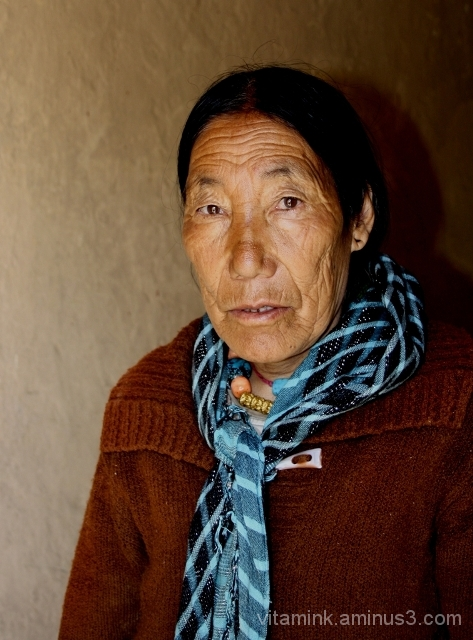 An old lady of Spiti Bhutia community near Tabo