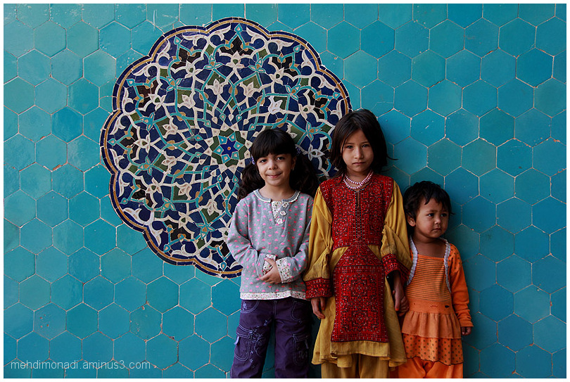 Iranian child with Afghan children