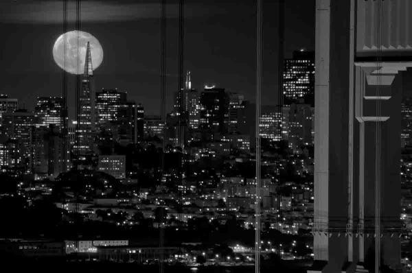 Full Moon over the Golden gate bridge