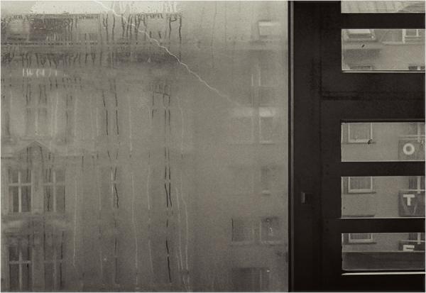 B&W, Regen, Fenster