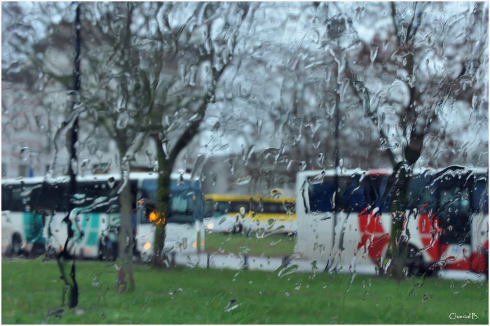 Jour de pluie à la sortie du collège