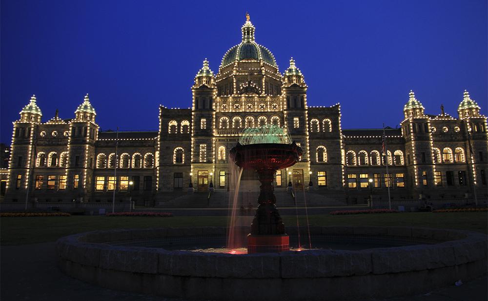 parlement de Victoria au coucher du soleil