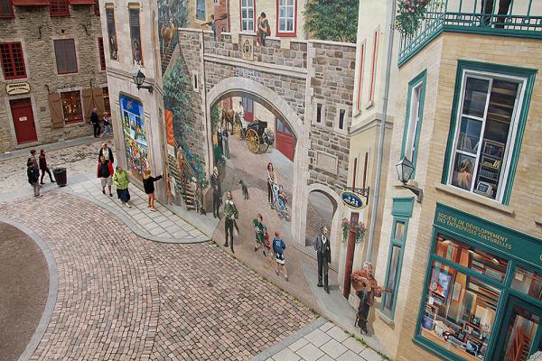 murale dans le Vieux Québec