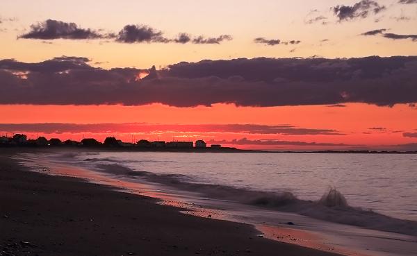 coucher de soleil sur le fleuve