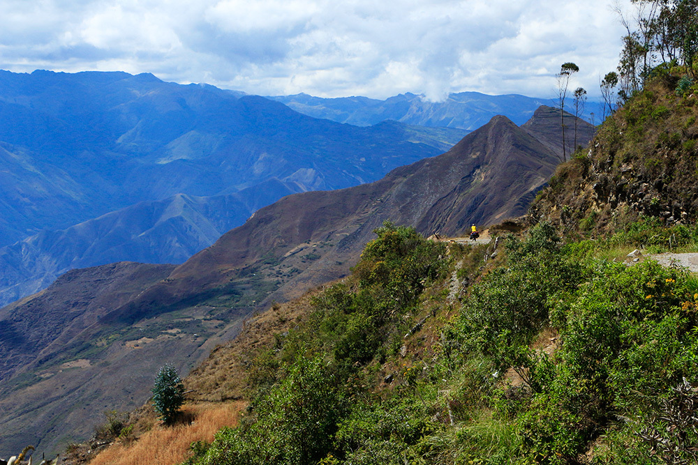 Cyclist in the Andes