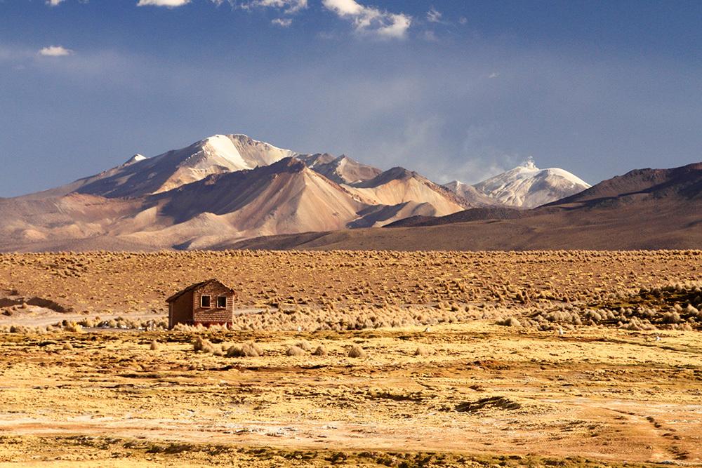 Little house near volcanoes