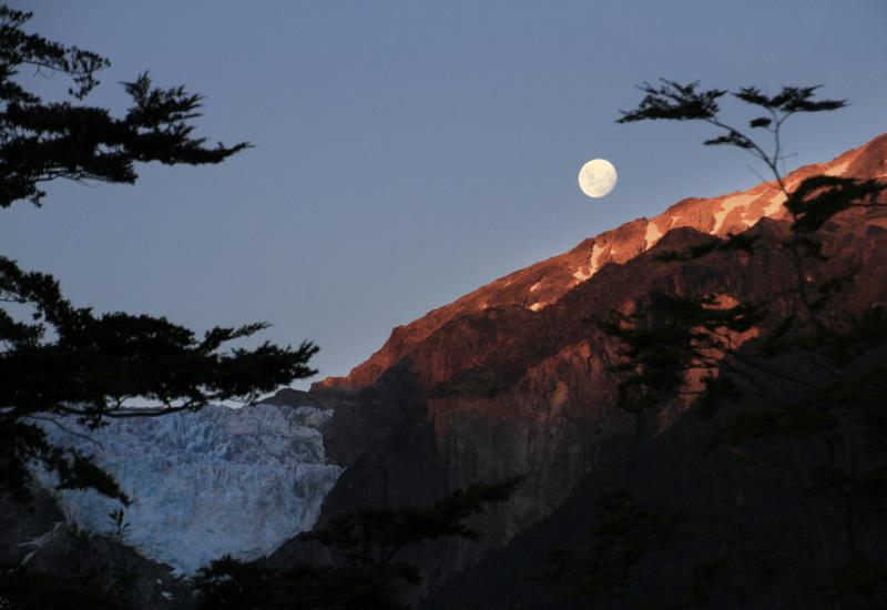 Moon rising over the glacier