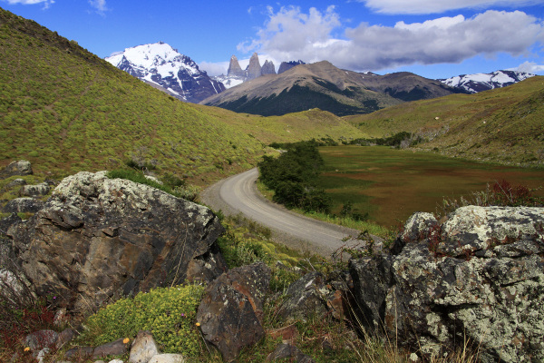 A road in the park of Torres del Paine
