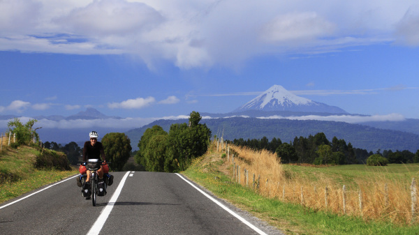 Charles cycling around Osorno volcano