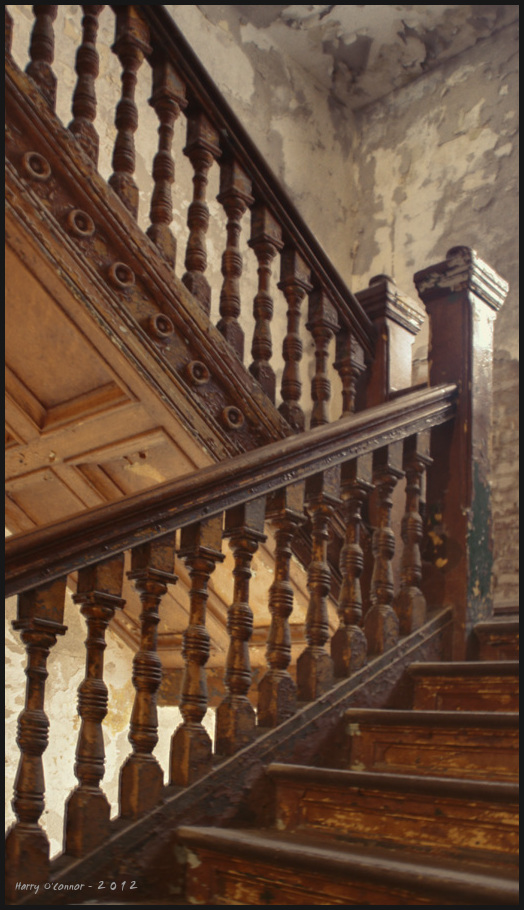a wooden staircase at the Ohio State Reformatory