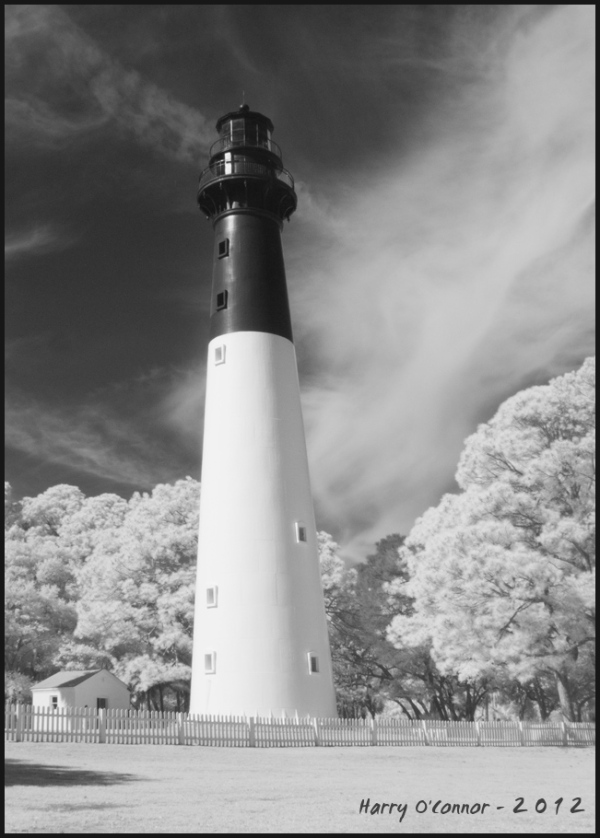 infrared phot of hunting island lighthouse in SC