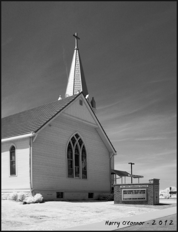 infrared photo of a country church